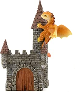 Top Collection Solar The Red Dragon - Mini Collectible Fantasy Figurine Planter (Perched on Castle)