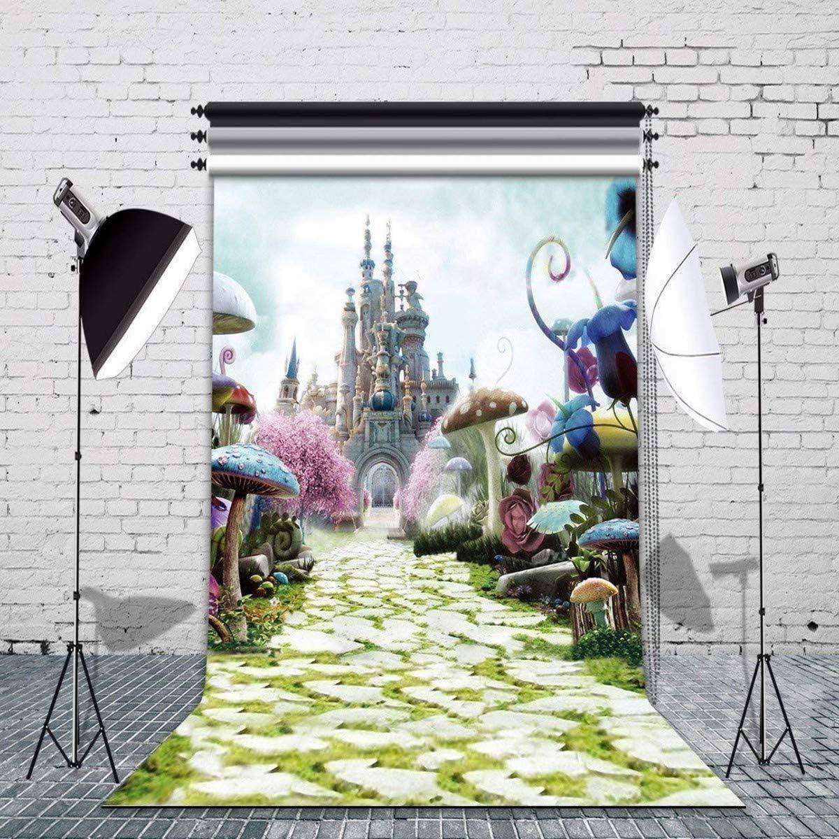Haoyiyi 9x6ft Spring Cartoon Fairy Tale Castle Dreamy Wonderland Backdrop Backgrpund Photography Kid Children Newborn Birthday Baby Shower Wedding Cake Table Tea Party Wallpaper Poster Decoration