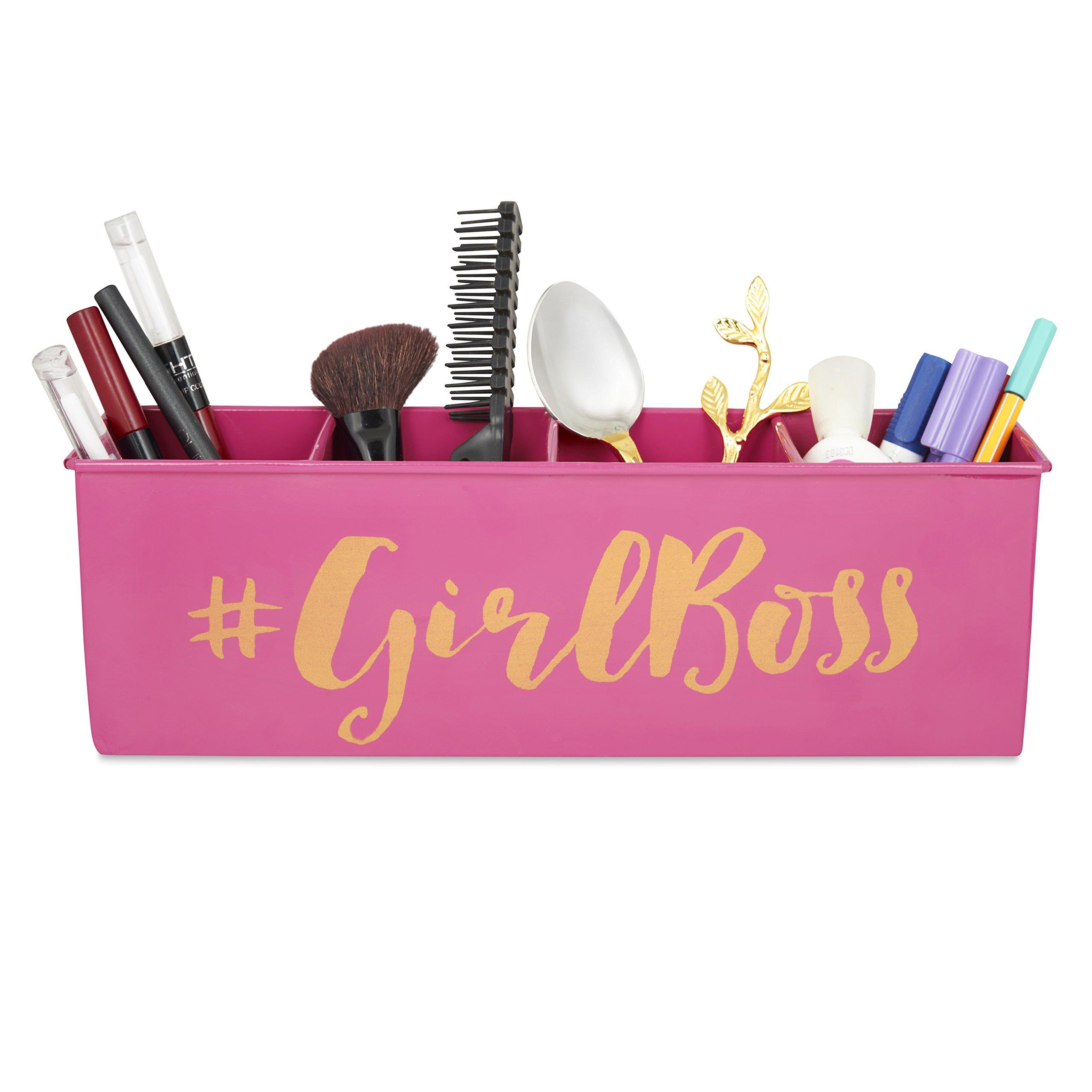 ELAN ELAN Multipurpose Desk Organizer with 4 compartments. - Girl Boss Pink