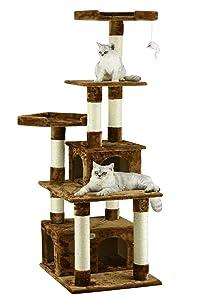 Go Pet Club F206Cat Tree Condo Scratcher Post Pet Bed Furniture , 67 inch , Black