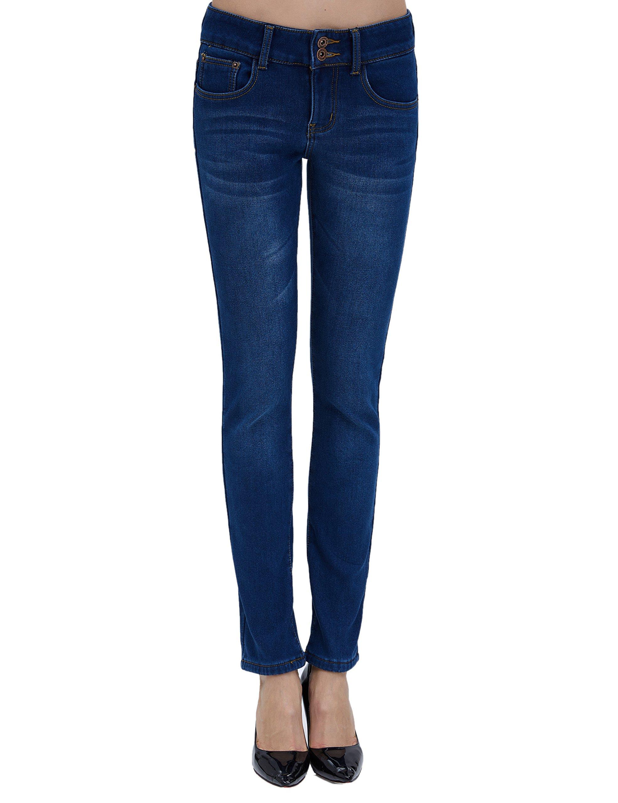Camii Mia Women's Slim Fit Fleece Lined Jeans (W27 x L30, Blue (New Size)) by Camii Mia (Image #1)