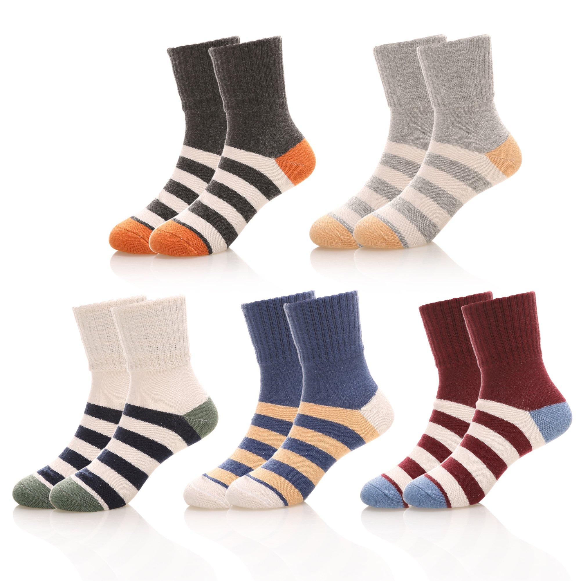 NOVCO Kids Little Boys Girls Colorful Stripes Cotton Athletic Socks 5 Pairs (Stripe 1, 3-5 Years)