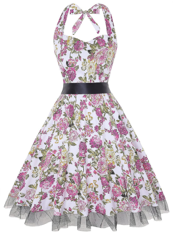 TALLA M. oten Vestidos 50s Vintage Rockabilly de Halterneck de Cóctel Fiesta de Las Mujeres Floral Rosado