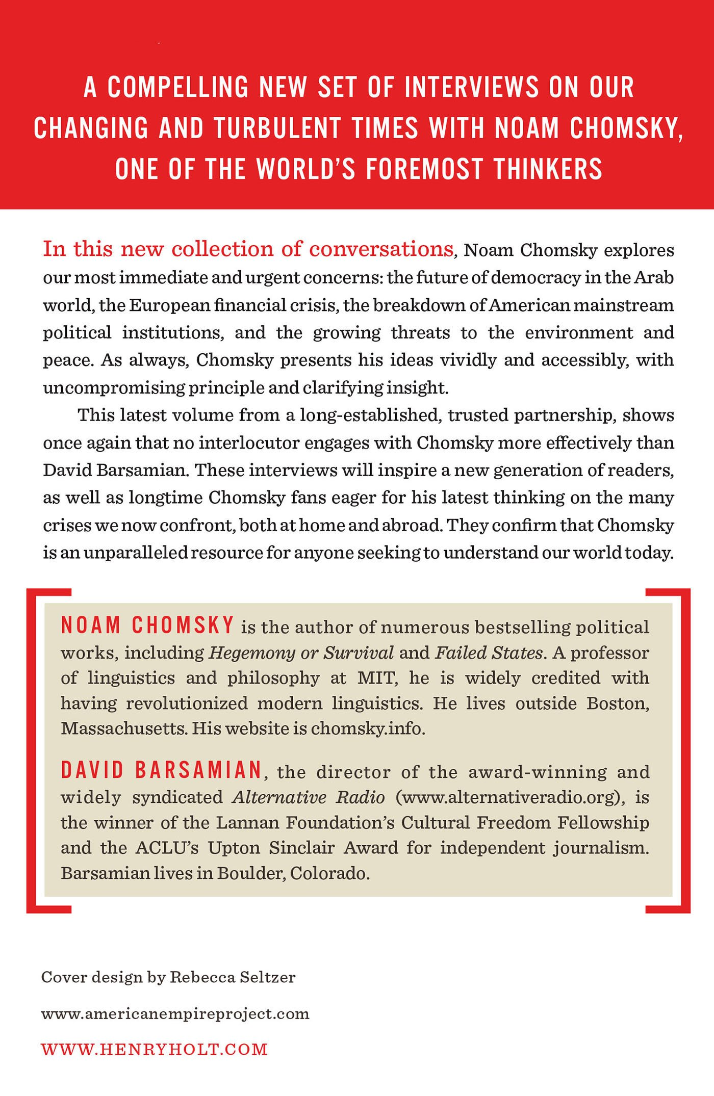 Power Systems: Conversations On Global Democratic Uprisings And The New  Challenges To Us Empire: Noam Chomsky, David Barsamian: 9780805096156:  Amazon: