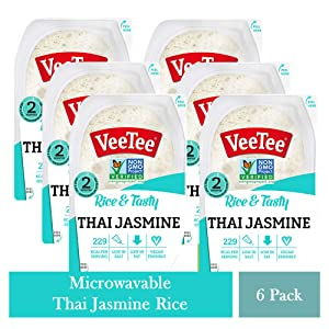 VeeTee Rice & Tasty Thai Jasmine - Microwavable Instant Rice - 10.6 oz - Pack of 6