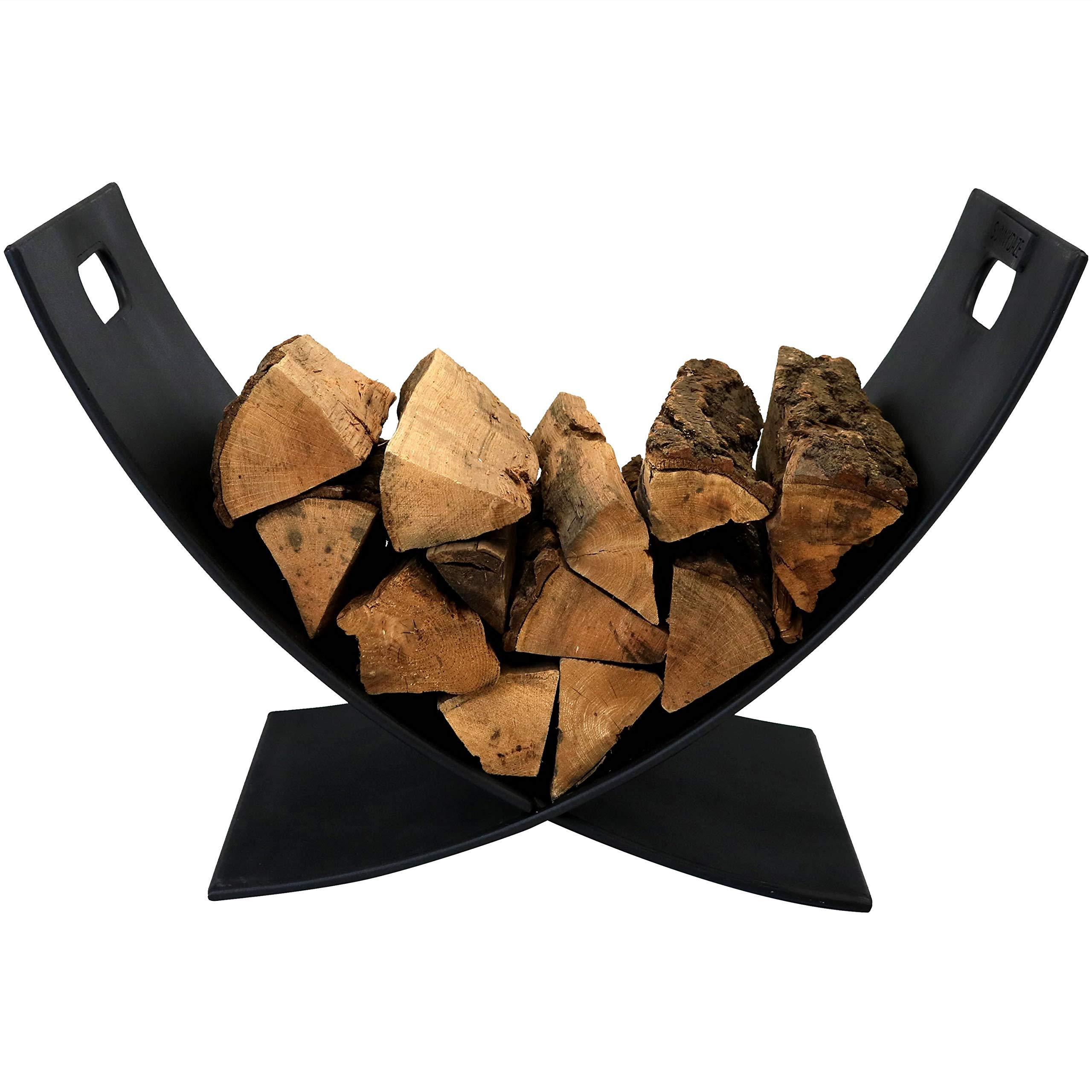 Sunnydaze 30 Inch Firewood Metal Log Rack - Indoor/Outdoor Heavy Duty Black Powder Coated Steel Wood and Kindling Stacker Storage Holder - Fireplace Accessory by Sunnydaze Decor