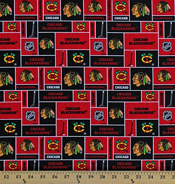 Chicago Blackhawks Flannel Fabric-NHL Cotton Flannel Fabric sold by the yard