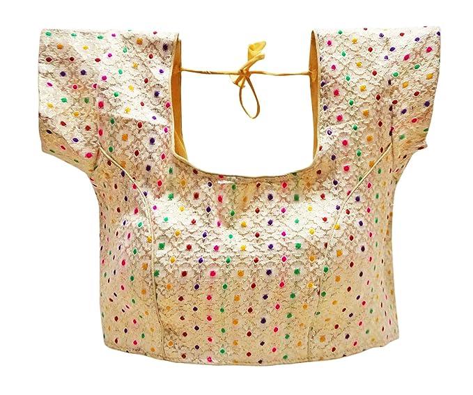 PEEGLI Blusas De Bollywood Diseñador De Fiesta De Mujeres Desgaste Saree Brocado Choli: Amazon.es: Ropa y accesorios