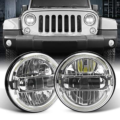 2020 Newest DOT Approved 7Inch Round LED Headlights with DRL for Jeep Wrangler JK TJ LJ CJ JL Hummber H1 H2 (Sliver): Automotive