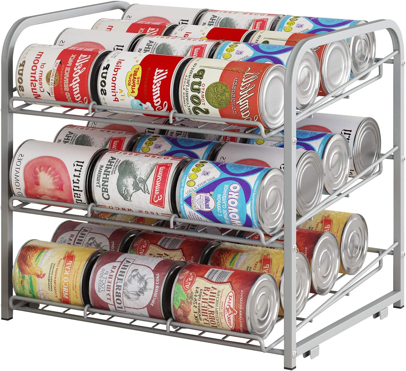 AIYAKA 3 Tier Stackable Can Rack Organizer,for food storage,kitchen cabinets or countertops,Storage for 36 cans,Silver