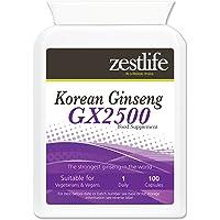 Zestlife coreani (Panax) Ginseng GX2500 ** Offerta Speciale ** / 100 Capsule | Un tonico rigenerante che promuove la vitalità ~ resistenza e concentrazione migliore * In Offerta Speciale *