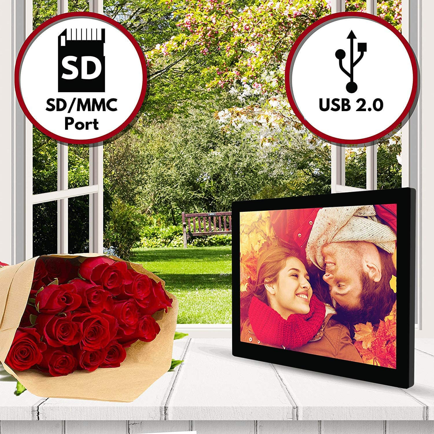 1080p High Definition Electronic Photo /& Video with 16GB Memory Motion Sensor Built-in Speakers /& Remote Control - 15.4 inch HD Digital Picture Frame Black