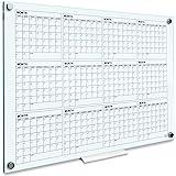 "Whiteboard Calendar - Glass Board Yearly Calendar - 34"" X 46"" - Large Wall Calendar - White Board Dry Erase Planner - Reusabl"