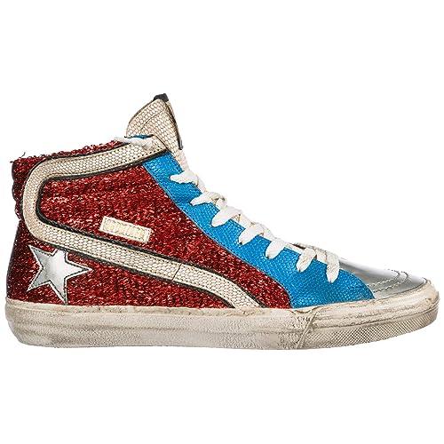 8b56f1a4a8 Golden Goose Sneakers Alte Slide Donna Red Lurex - Blue Gold Lizard ...