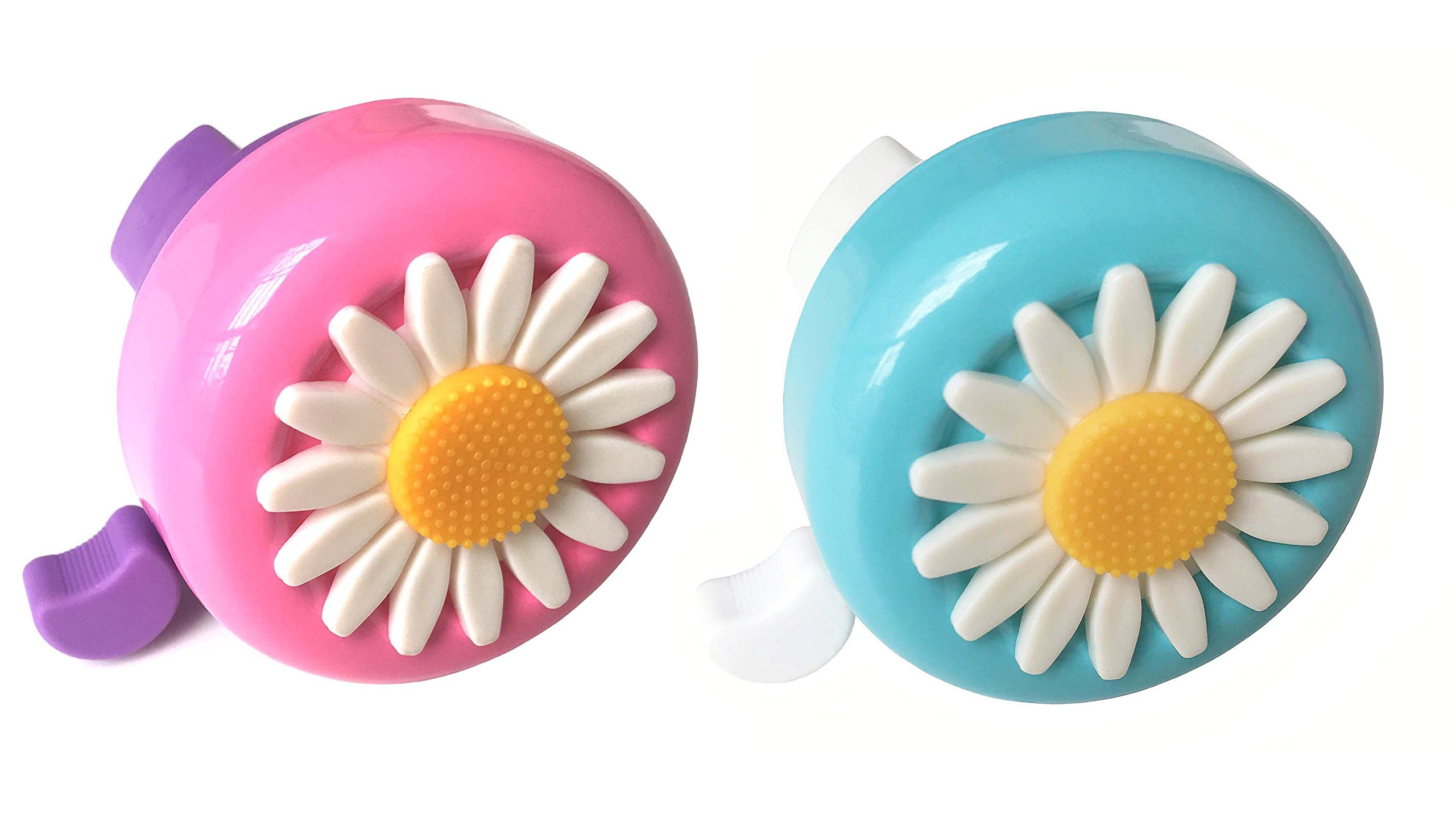 Aimyoo Set of 2 Blue & Pink Kids Toddlers Bicycle Bells - Daisy Bike Ring Horn , Clear and Loud Ringtone Alert