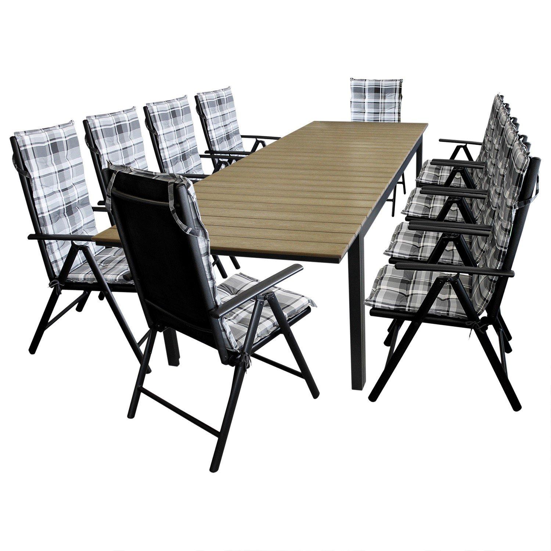 XXL Gartengarnitur Sitzgruppe Gartenmöbel Terrassenmöbel Set Sitzgarnitur - Ausziehtisch, Aluminium, Polywood Tischplatte, 220/280x95cm, brown-grey + 10x Gartenstuhl, Textilenbespannung, 7-fach verstellbare Lehne + 10x Sitzauflage