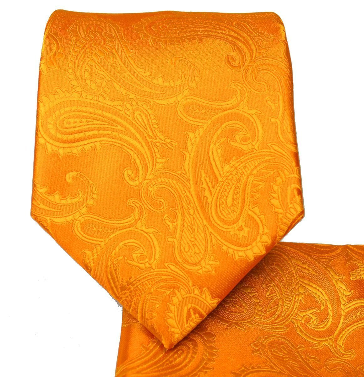Men's Paisley Necktie Set (Bright Orange) #600-EE