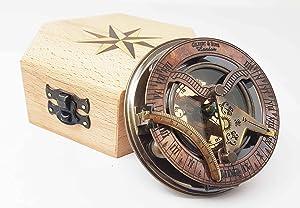 Brass Nautical - Handmade Brass Sundial Compass in Gift Box Sun Dial Watch Navigation