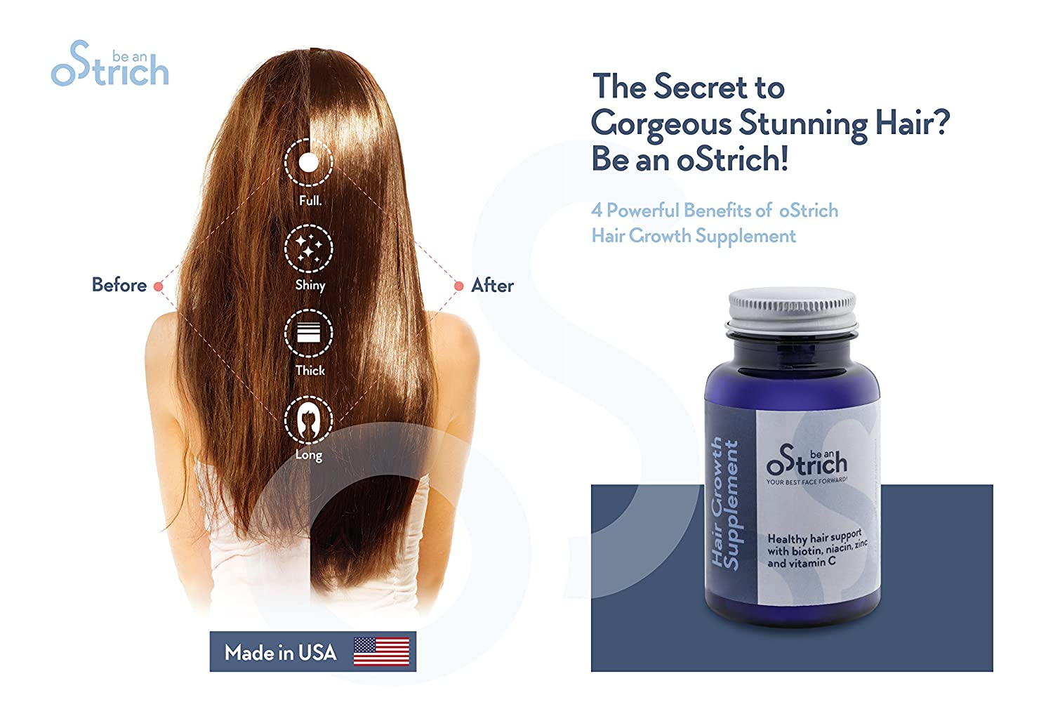 Amazon.com: Hair Growth Vitamins for Stronger, Longer, Fuller and Healthier Hair in Just 90 Days - Faster and Thicker Hair, All Hair Types - Formulated with ...