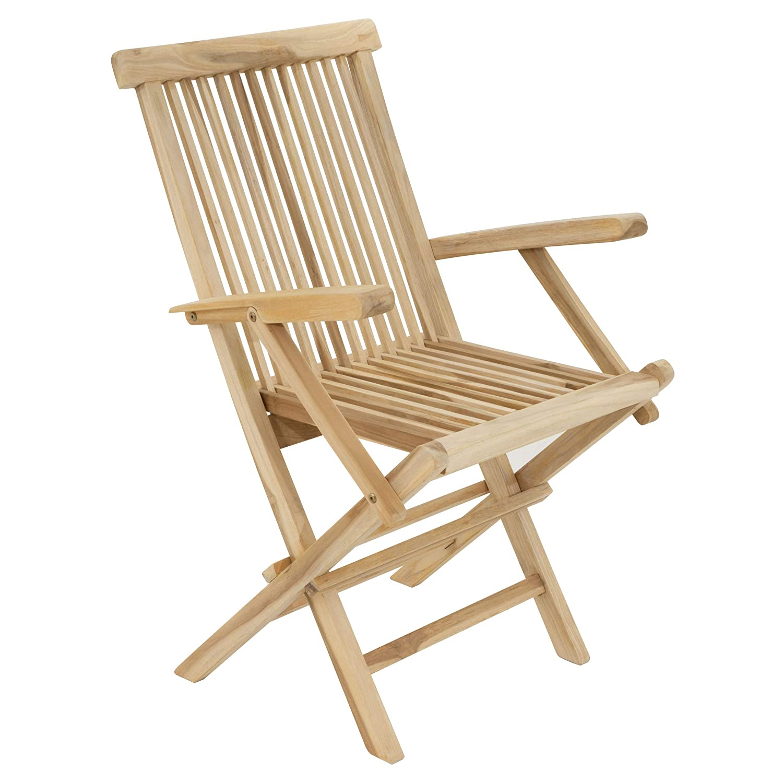 Divero GL05037 Stuhl Gartenstuhl Terrassenstuhl Klappstuhl aus Teak-Holz Hochlehner mit Armlehnen klappbar massiv unbehandelt Natur,