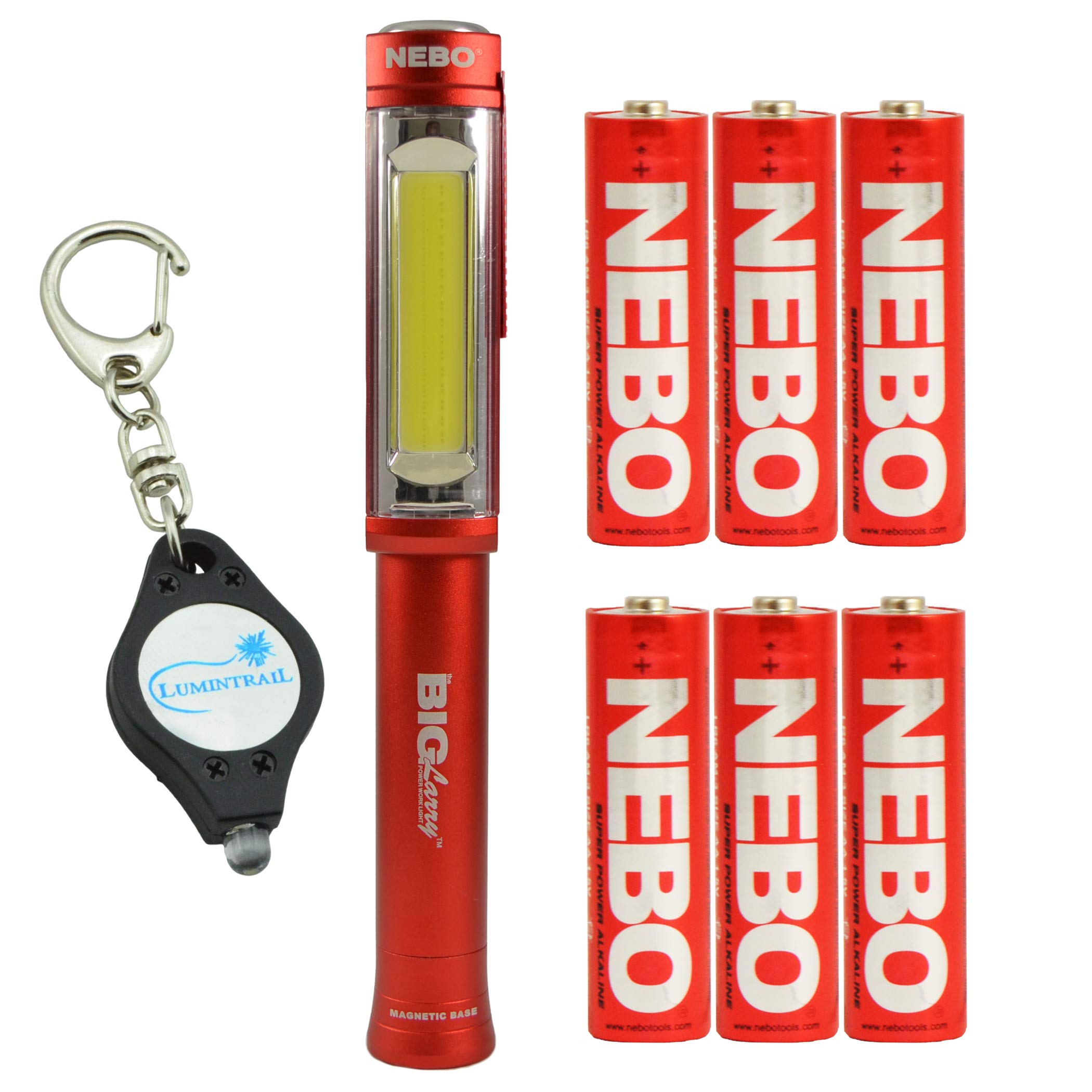 NEBO BIG Larry Magnetic 400 Lumens COB LED Work Light 6413 RED with 6 Nebo AA Batteries & Lumintrail Keychain Light
