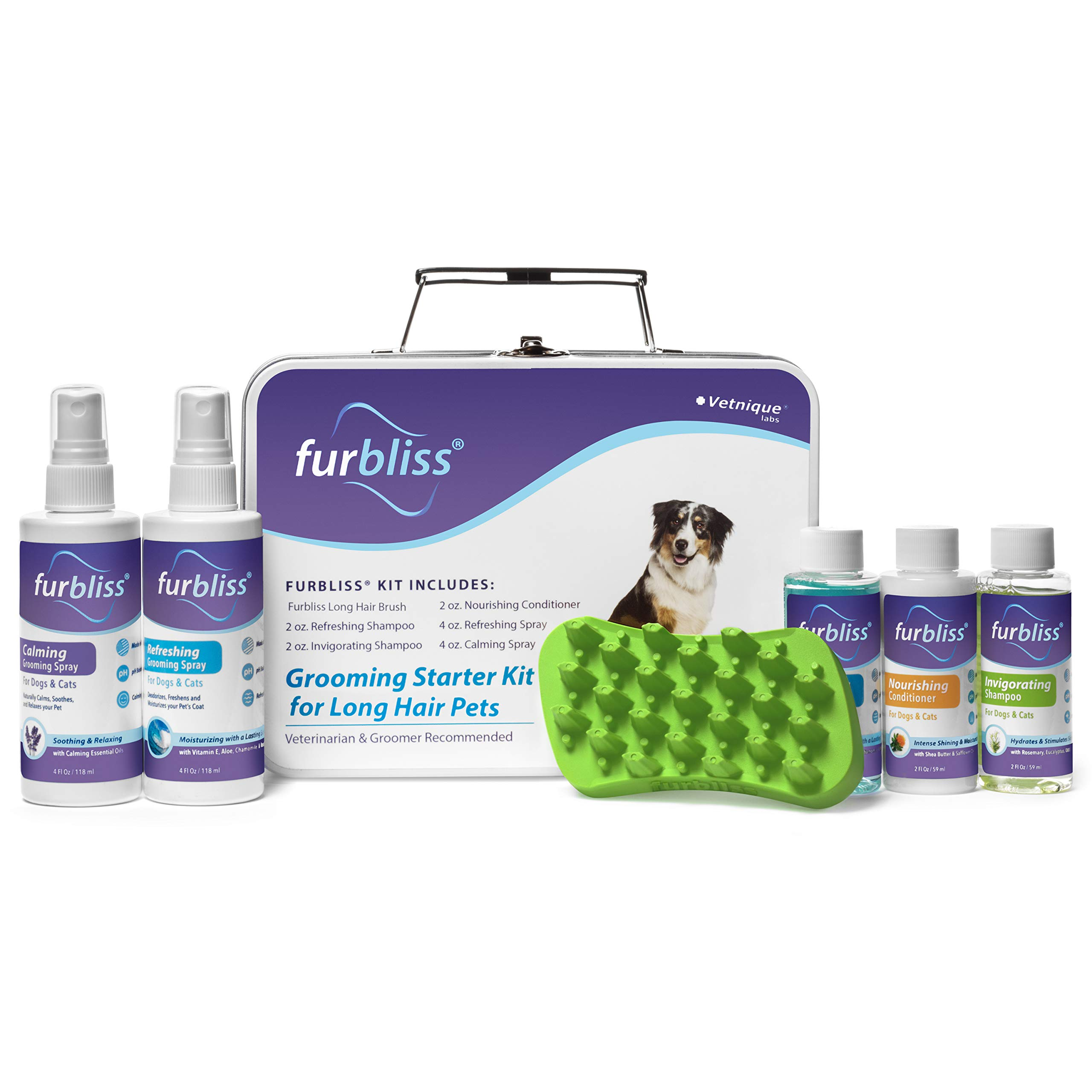 Furbliss Grooming Kit for Dogs, Cats and Pets with Long Hair - Cat/Dog Shampoo, Cat/Dog Conditioner, Cologne Sprays and The Brush Included