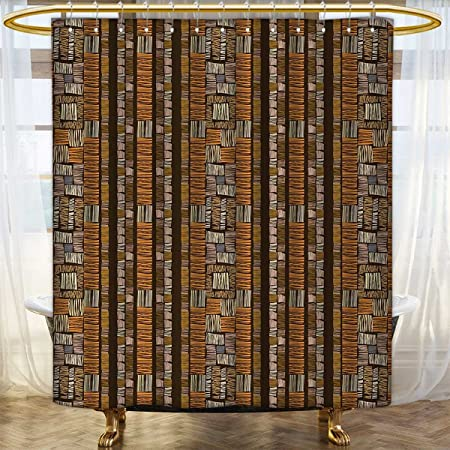 Anhounine Ethnic Fabric Shower Curtains African Culture Tribal Ornamental Stripes With Earthy Classical Timeless Motifs Satin