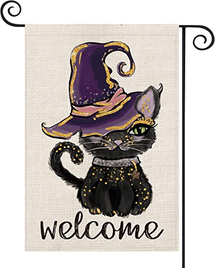 Amazon Com Avoin Halloween Welcome Black Cat Garden Flag Vertical Double Sized Witch Hat Day Of The Dead Yard Outdoor Decoration 12 5 X 18 Inch Garden Outdoor