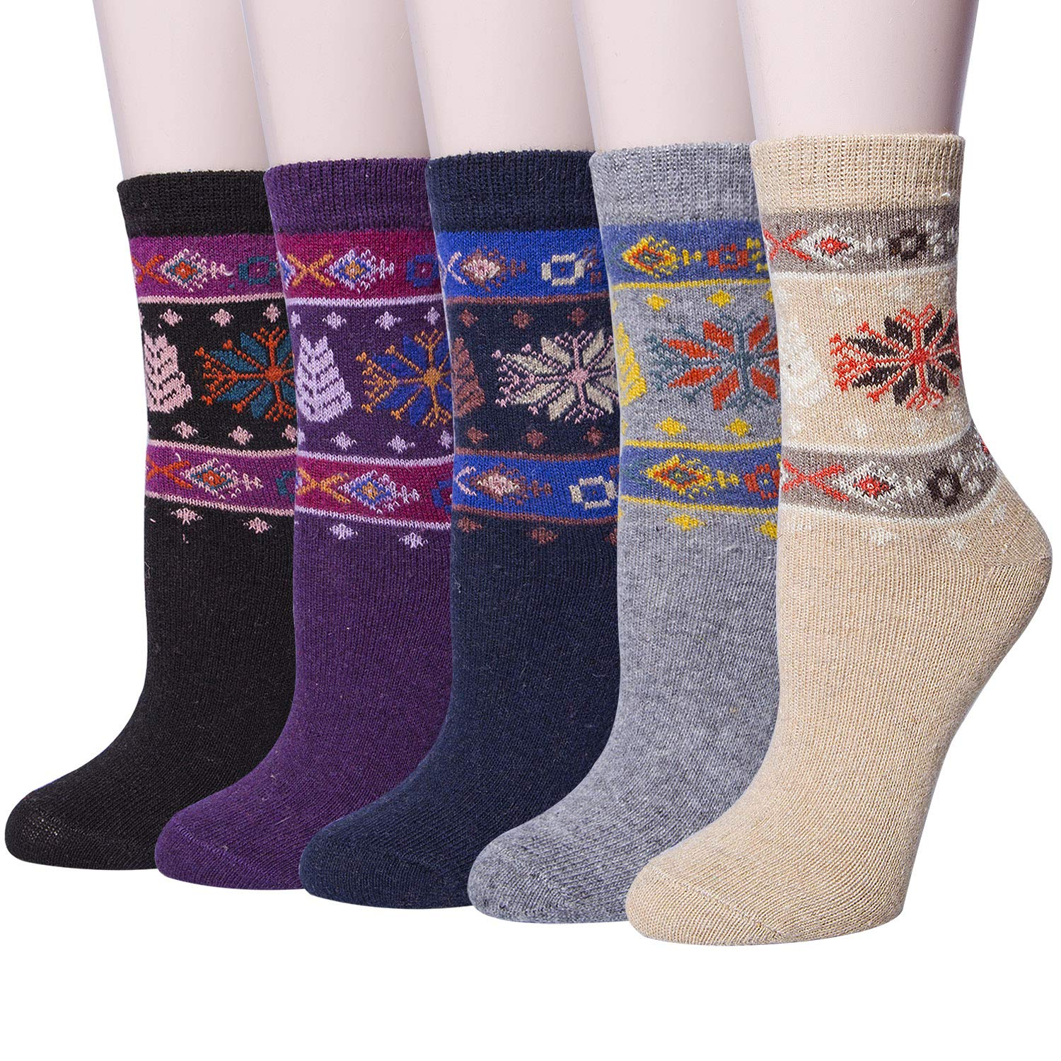 5 Pairs Womens Vintage Style Knit Warm Wool Winter Crew Socks