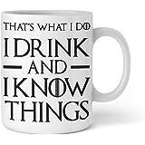Lustige Kaffee-Tasse | I drink and I know things | Tolle Geschenkidee Bürotasse für Serienjunkies | Schöne Kaffee-Tasse von Shirtinator®