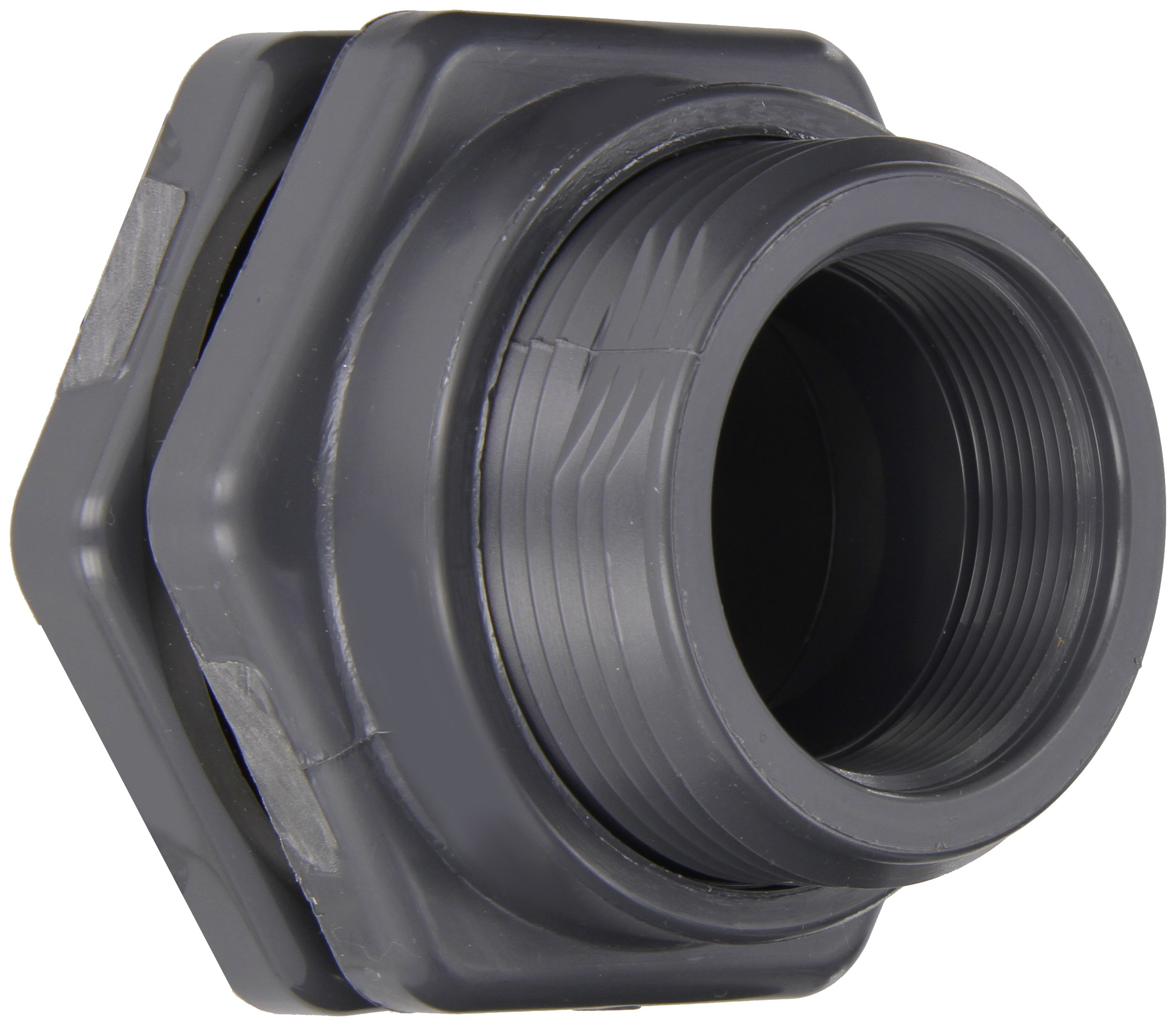 Hayward BFAS1020CES Series BFAS Short Pattern Bulkhead Fitting, Socket x Threaded End, PVC with EPDM Seals, 2'' Size