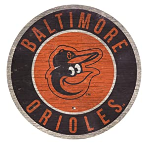 """MLB Baltimore Orioles 12"""" Circle with State and Team Logo Wood Sign"""