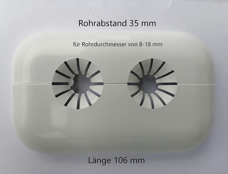 Roseta doble para radiadores 4 unidades, para tubos de radiador, cubierta de pl/ástico, para tubos de 8-18 mm de di/ámetro