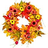 BESTTRENDY Fall Wreath, 20Inch Artificial Fall Wreath for Front Door Fall Wreath Decor Autumn Harvest Wreath with…