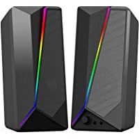 Computer Speakers - HaiZR 10W RGB Gaming Computer Speaker with Colorful LED Light and Stereo Bass Desktop Speaker, USB…