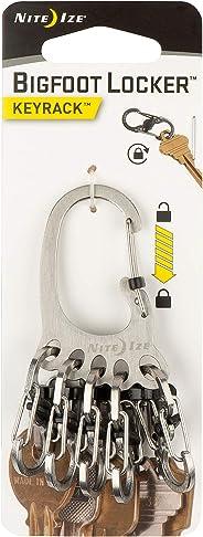 Nite Ize KLKBF-11-R6 Bigfoot Locker KeyRack, Carabiner Chain with 5 Stainless Steel Locking S-Biner Toes to Hold Keys Separa