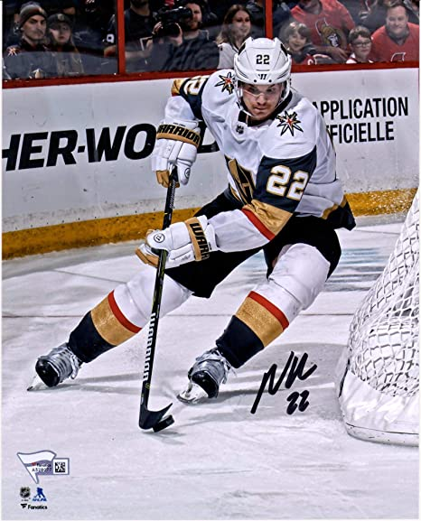 30e0c7a126c Nick Holden Vegas Golden Knights Autographed 8 quot  x 10 quot  White  Jersey Skating with Puck