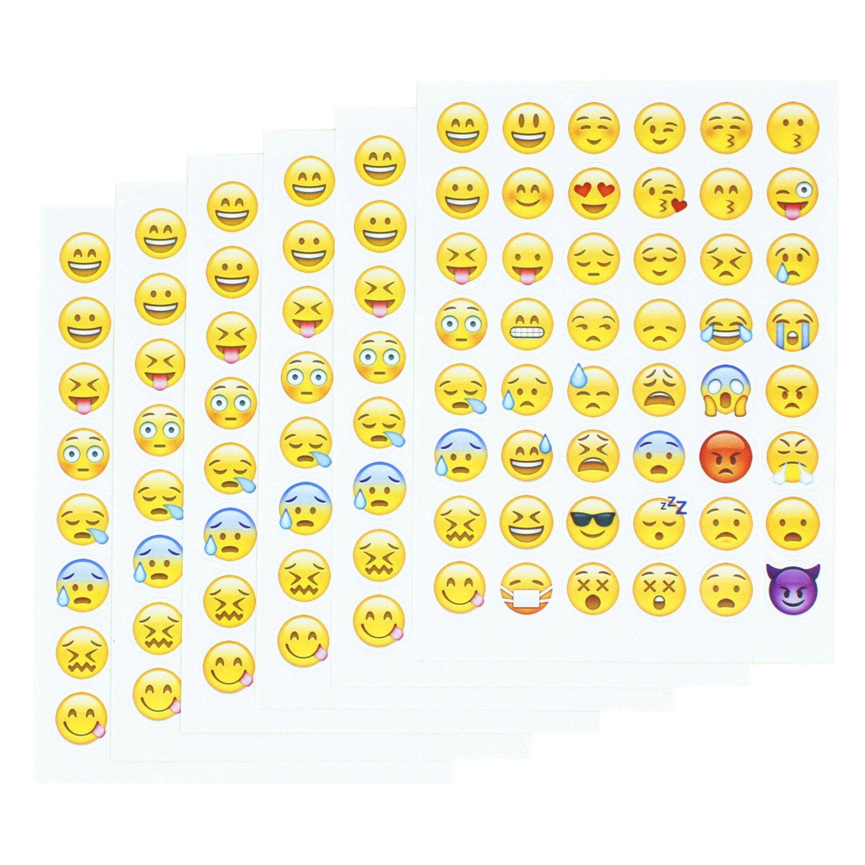 Emoji Pegatinas 20 hojas con las mismas caras felices Etiquetas engomadas de los ni/ños del iPhone Facebook Twitter
