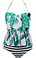Cocoship Women's Retro Antigua Floral Peplum Push Up High Waist Bikini Set Chic Swimsuit(FBA)