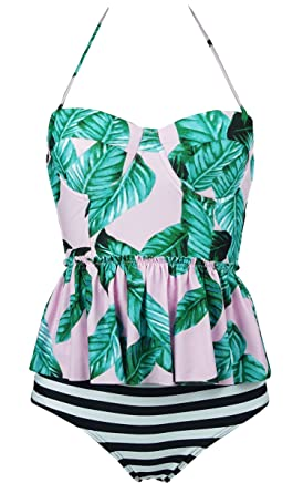 19cbafc1a48 COCOSHIP Pink & Forest Green Leaves & Black Striped Peplum Women's Retro  Push up High Waist