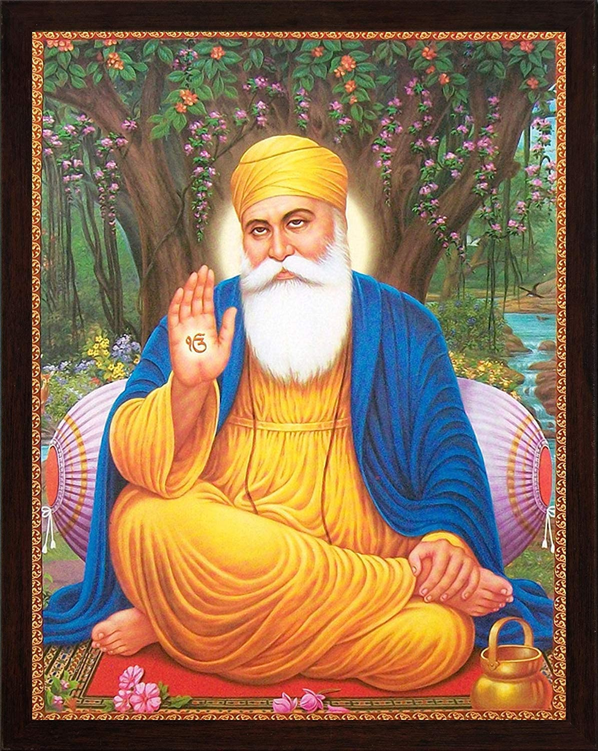Handicraft Store Guru nanak Dev ji Sitting Under Tree and Giving Blessings  with ekumkar Symbol in Hand, A Sikh Religious Painting Poster with Frame,  Must for Sikh Family Home/Office/Gift Purpose: Amazon.co.uk: Welcome