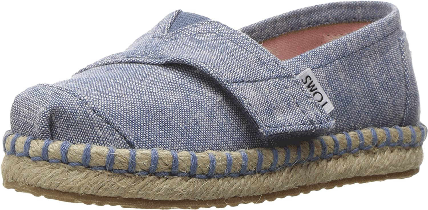 Amazon.com | TOMS Kids Baby Girls Platforn Alpargata Espadrille (Toddler/Little Kid) Blue Slub Chambray Loafer | Loafers