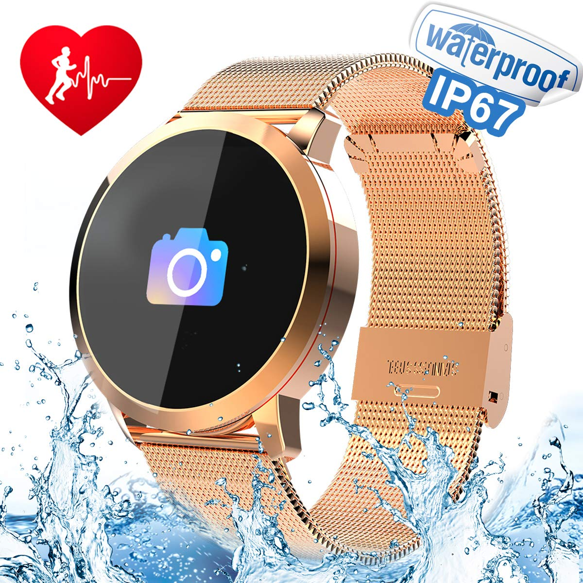 Waterproof Fitness Tracker for Android iOS Phone, Sport Smart Watch with Heart Rate Blood Pressure Sleep Monitor, Sedentary Reminder, Pedometer, Alarm Clock, Game Activity Tracker for Women