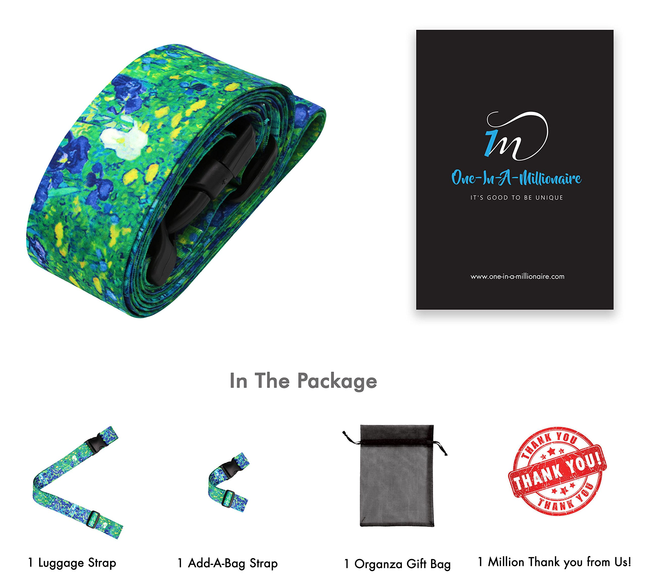Vincent Van Gogh Irises Travel Luggage Strap Suitcase Security Belt. Heavy Duty & Adjustable. Must Have Travel Accessories. TSA Compliant. 1 Luggage Strap & 1 Add A Bag Strap. 2-Piece Set. by One In A Millionaire (Image #6)