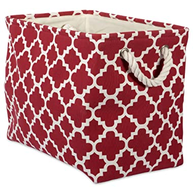 DII Printed Polyester, Collapsible and Convenient Storage Bin to Organize Office, Bedroom, Closet, Kid's Toys, Laundry  -Large Rectangle, Rust Lattice, 18 x 12 x 15