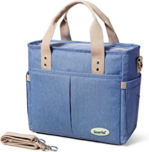 Insulated Lunch Bag, SCORLIA Large Lunch Tote Bag With Removable Shoulder Strap, Durable Reusable Cooler lunch Box Bag with Side pockets, Big Drinks Holder for Women Men Work, Blue