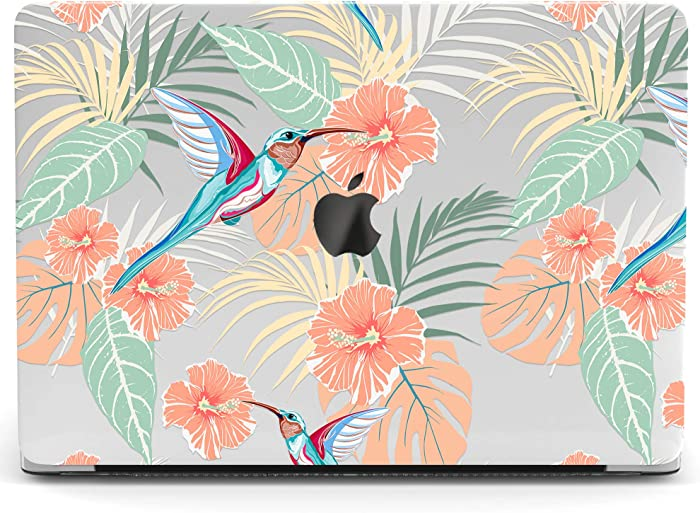 Wonder Wild Mac Retina Cover Case Compatible for MacBook Pro 15 inch 12 11 Clear Hard Air 13 Apple 2019 Protective Laptop 2018 2017 2020 Plastic Print Flowers Exotic Floral Bird Hummingbird Girly