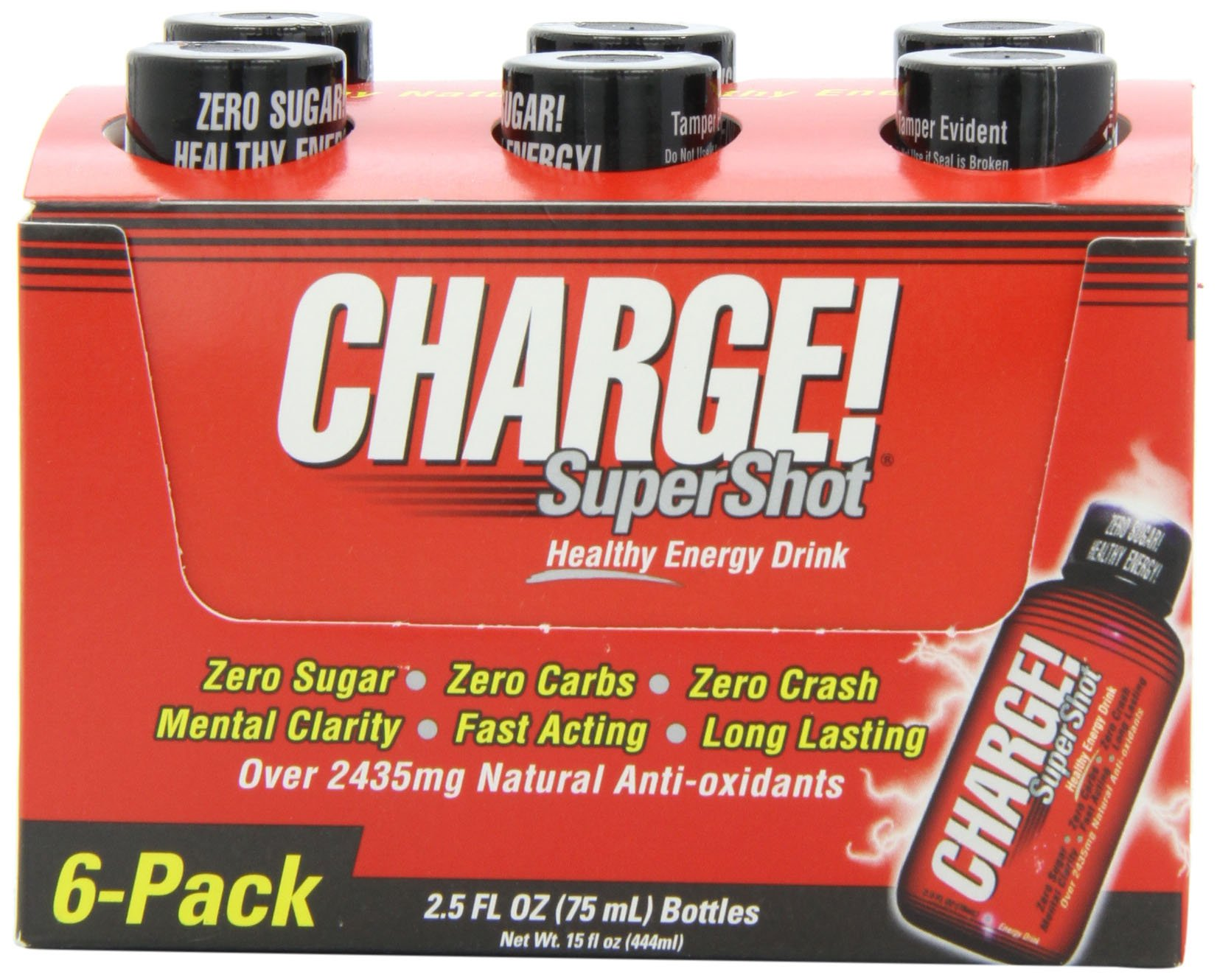 Labrada Nutrition Charge! SuperShot Natural Healthy Energy, 2.5-Ounce Single Shot (Pack of 6)