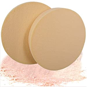 2 Pack 90mm10mm Makeup Sponge Powder Puff Facial Cosmetic Puff Dry Wet Foundation Puffs Make Up Beauty Face Powder Tools (LIFE9017Skin)