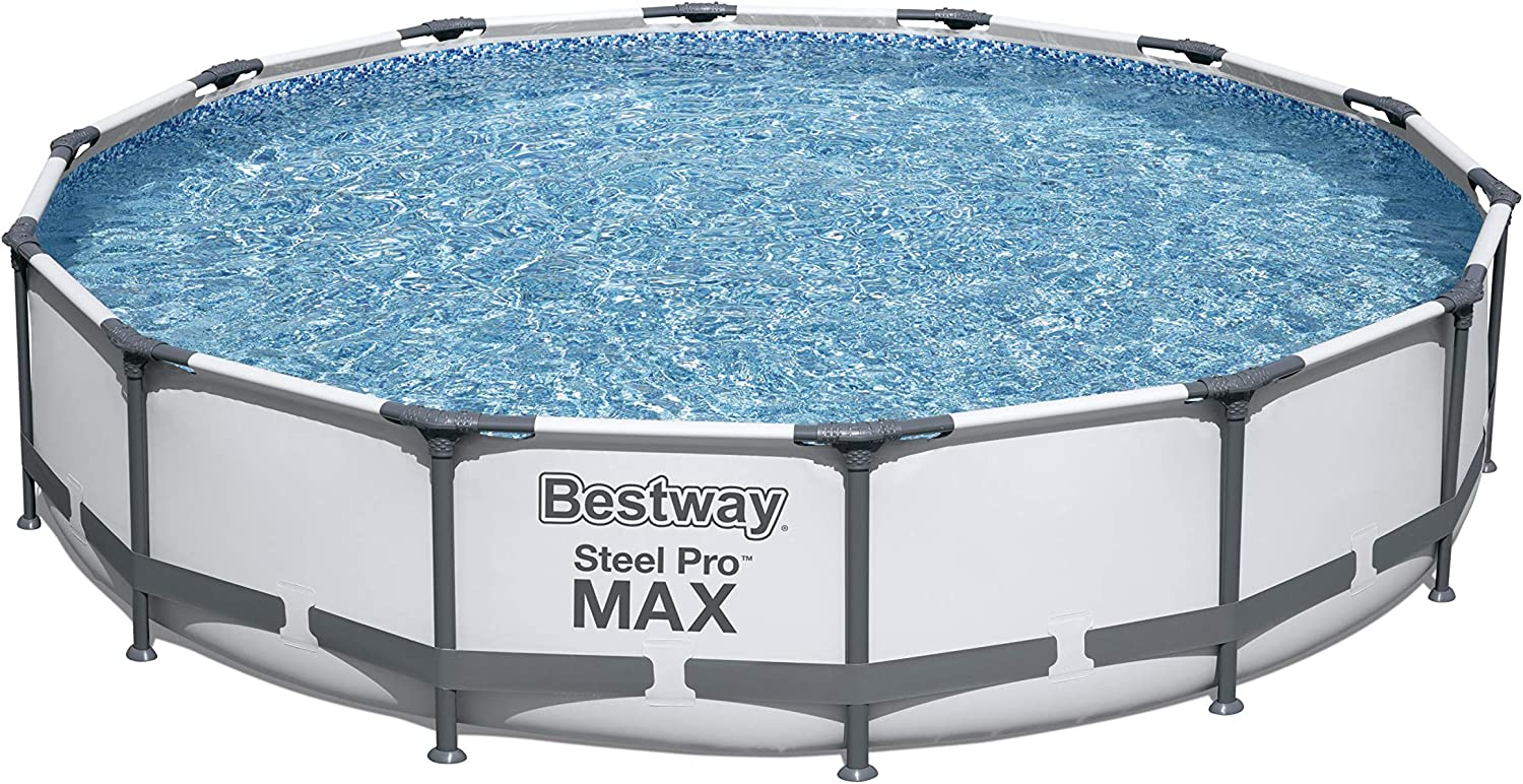 BESTSELLER NO. 2 Bestway 56597E Pro MAX Above Ground, 14ft x 33in | Steel Frame Round Pool Set | No Tools Required, 14-Feet by 33-inch, Grey